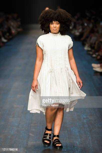 A model walks the runway in designs by Akira during Runway 1 at Melbourne Fashion Festival on March 11 2020 in Melbourne Australia