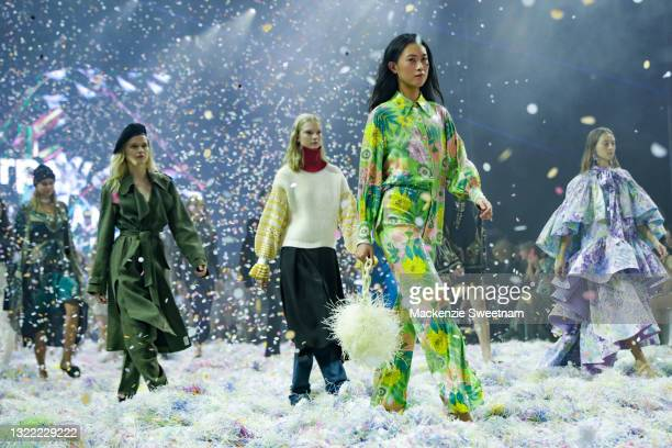 Model walks the runway in designs by Alice McCall during the Afterpay's Future of Fashion show during Afterpay Australian Fashion Week 2021 Resort...