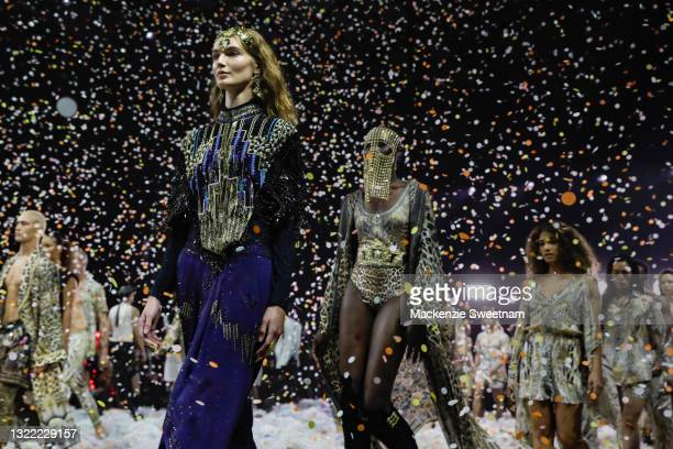 Model walks the runway in designs by Camilla during the Afterpay's Future of Fashion show during Afterpay Australian Fashion Week 2021 Resort '22...