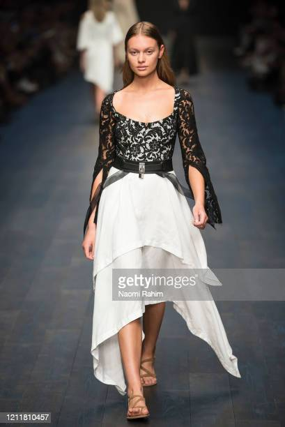 A model walks the runway in designs by KITX during Runway 1 at Melbourne Fashion Festival on March 11 2020 in Melbourne Australia