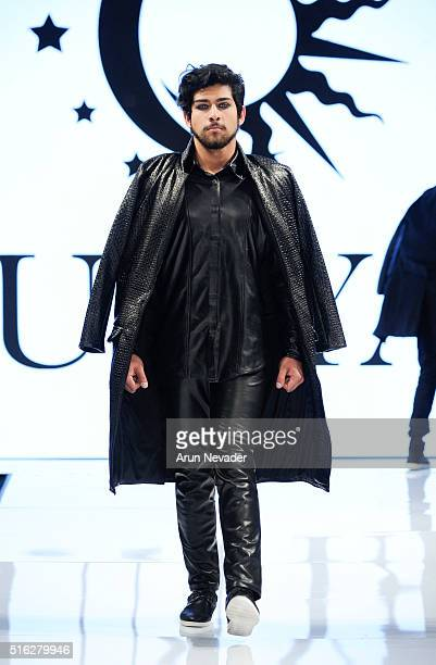 A model walks the runway in Dunyah at the Art Hearts Fashion LAFW Fall/Winter 2016 Day 5 at the Taglyan Cultural Complex on March 17 2016 in...