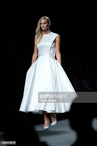 Model walks the runway in the Amaya Arzuaga fashion show during the Mercedes Benz Fashion Week Madrid Spring/Summer 2015 at Ifema on September 14,...