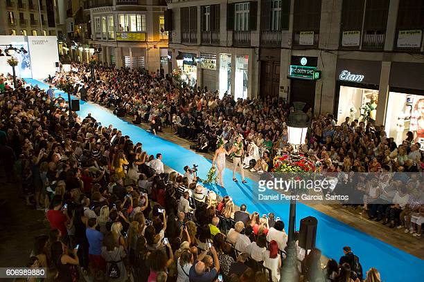A model walks the runway in the Angel Palazuelos fashion show during the VI Larios Malaga Fashion Week on September 16 2016 in Malaga Spain