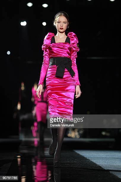A model walks the runway in the Dolce Gabbana show during Milan Fashion Week Womenswear Autumn/Winter 2009 on March 2 2009 in Milan Italy