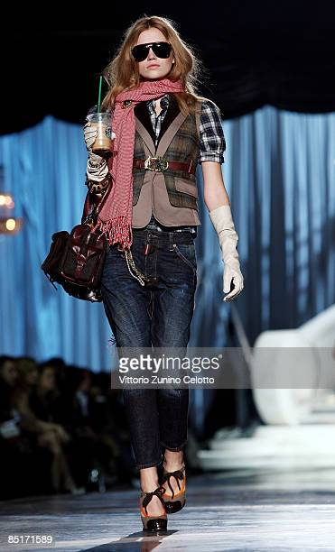 Model walks the runway in the Dsquared2 show during Milan Fashion Week Womenswear Autumn/Winter 2009 on March 02 2009 in Milan Italy