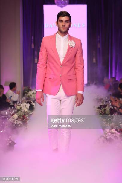 A model walks the runway in the finale of the David Jones Spring Summer 2017 Collections Launch at David Jones Elizabeth Street Store on August 9...