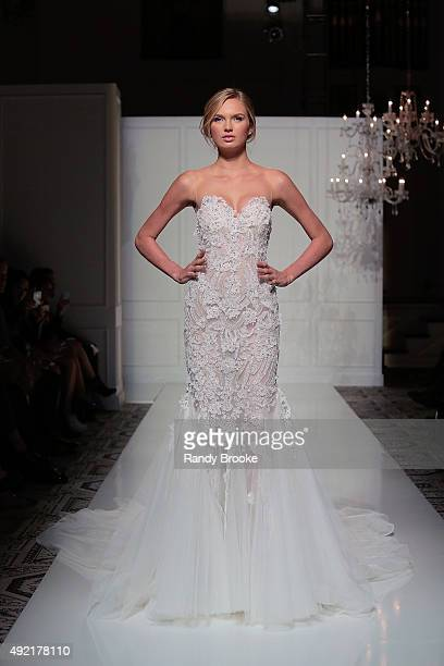 A model walks the runway in the first look during the Pronovias Bridal Fall/Winter 2016 Fashion Show on October 10 2015 in New York City