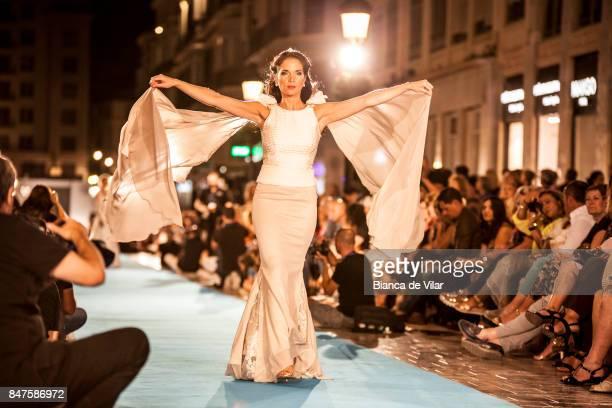 A model walks the runway in the Gemma Melé fashion show during the VII Larios Malaga Fashion Week on September 15 2017 in Malaga Spain