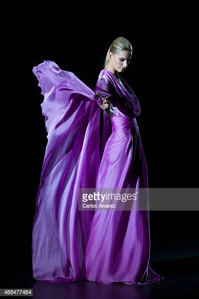 A model walks the runway in the Hannibal Laguna fashion show during Mercedes Benz Fashion Week Madrid Spring/Summer 2015 at Ifema on September 15...