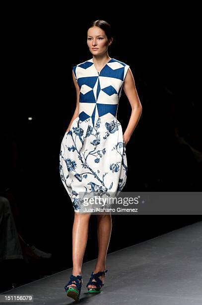 Model walks the runway in the Ion Fiz fashion show during the Mercedes-Benz Fashion Week Madrid Spring/Summer 2013 at Ifema on September 2, 2012 in...
