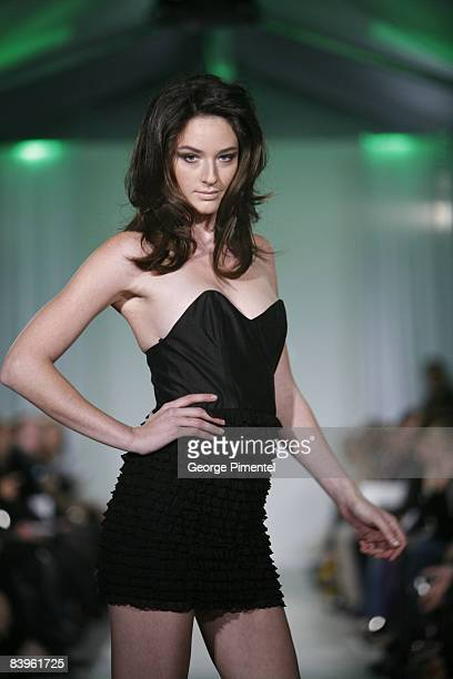 A model walks the runway in the Jason Meyers show during L'Oreal Toronto Fashion Week at Nathan Phillips Square October 21 2008 in Toronto Canada