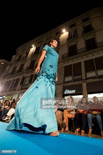A model walks the runway in the Jesus Segado fashion show during the VI Larios Malaga Fashion Week on September 16 2016 in Malaga Spain