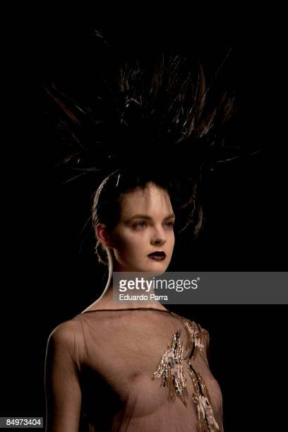 A model walks the runway in the Lydia Delgado fashion show during Cibeles Madrid Fashion Week A/W 2009 at the IFEMA on February 22 2009 in Madrid...