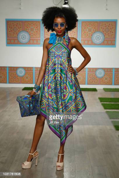 A model walks the runway in the Marisol Deluna New York Fashion Week presentation at Tals Studio on September 11 2018 in New York City