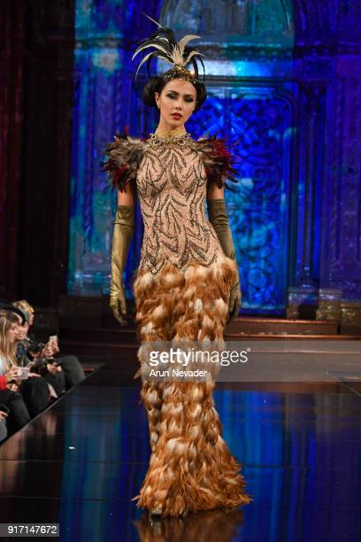 A model walks the runway in the Nidal Nouaihed presentation during New York Fashion Week Powered by Art Hearts Fashion NYFW at The Angel Orensanz...