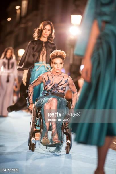 A model walks the runway in the Rafael Urquízar fashion show during the VII Larios Malaga Fashion Week on September 15 2017 in Malaga Spain