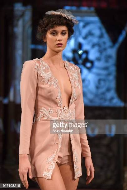 A model walks the runway in the Randa Yousrey presentation during New York Fashion Week Powered by Art Hearts Fashion NYFW at The Angel Orensanz...