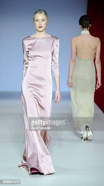 A model walks the runway in the Raul Penaranda fashion show at Gotham Hall on February 11 2016 in New York City