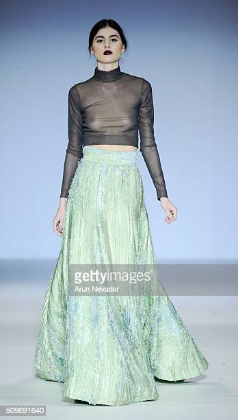 A model walks the runway in the Raul Penaranda fashion show at Gotham Hall on February 11 2016 in New York City