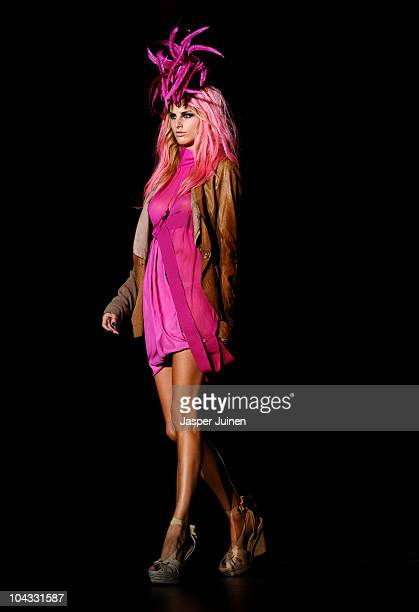 Model walks the runway in the Roberto Verino fashion show during the Cibeles Madrid Fashion Week Spring/Summer 2011 at the Ifema on September 21,...