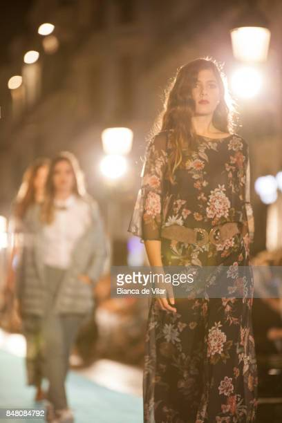 A model walks the runway in the Zendra fashion show during the VII Larios Malaga Fashion Week on September 16 2017 in Malaga Spain