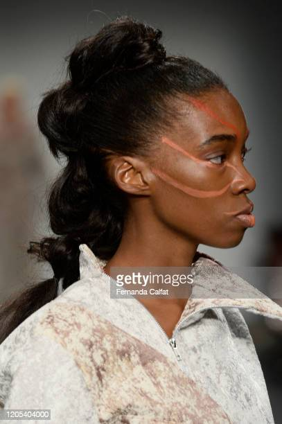 A model walks the runway makeup detail for Shun Oyama Tokyo at Global Fashion Collective II during New York Fashion Week The Shows at Pier 59 Studios...