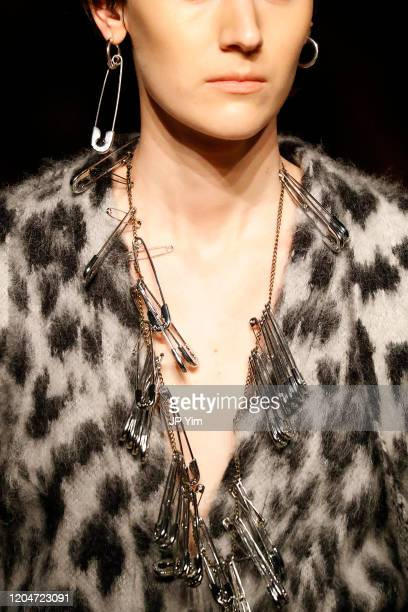 A model walks the runway neckline detail for the Monse fashion show during February 2020 New York Fashion Week The Shows on February 07 2020 in New...