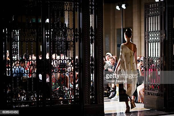A model walks the runway NS Gaia show at Fashion Scout during London Fashion Week Spring/Summer collections 2017 on September 20 2016 in London...