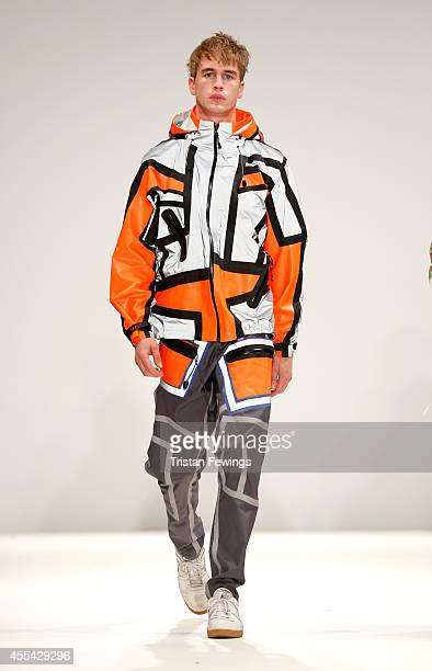 A model walks the runway of designer Andreas Eklof at the Swedish School of Textiles show during London Fashion Week Spring Summer 2015 at Fashion...
