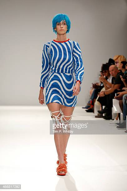 A model walks the runway of designer Cassandra Verity Green at the Ones To Watch show during London Fashion Week Spring Summer 2015 at Fashion Scout...