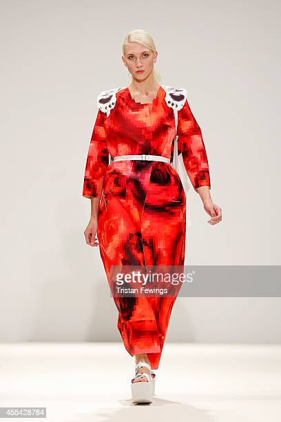 A model walks the runway of designer Johanna Karlsson at the Swedish School of Textiles show during London Fashion Week Spring Summer 2015 at Fashion...