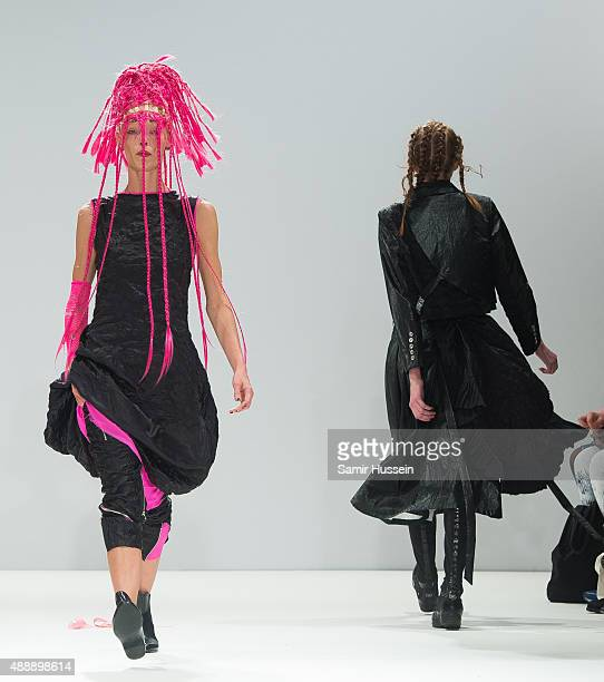 A model walks the runway of the Angel Chen show during London Fashion Week Spring/Summer 2016/17 on September 18 2015 in London England
