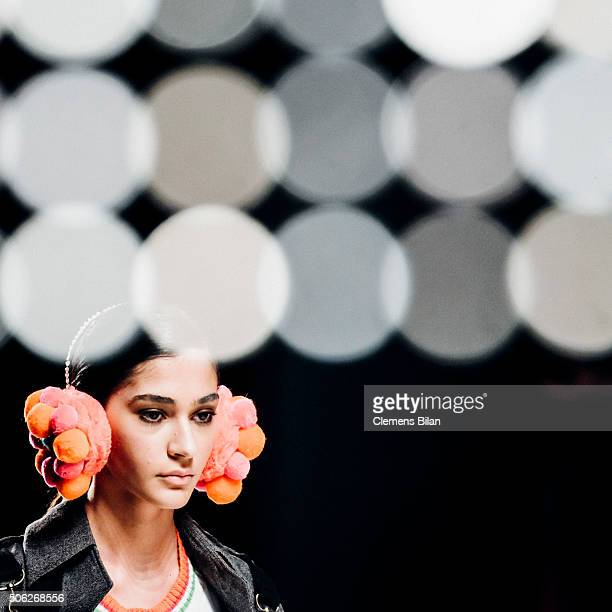 Model walks the runway of the Fashion Designs by Shih Chien University Show during the Mercedes-Benz Fashion Week Berlin Autumn/Winter 2016 at...