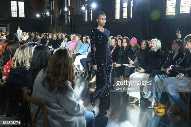 Model walks the runway of the Gabriela Hearst show during New York Fashion Week at High Line Hotel The Refectory on February 14 2017 in New York City
