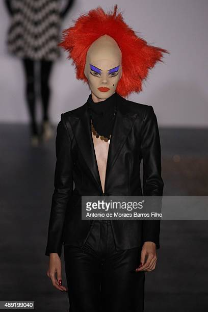 A model walks the runway of the Gareth Pugh show during London Fashion Week Spring/Summer 2016/17 on September 19 2015 in London England