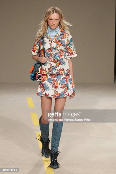Model walks the runway of the House of Holland show during London Fashion Week Spring/Summer 2016/17 on September 19, 2015 in London, England.