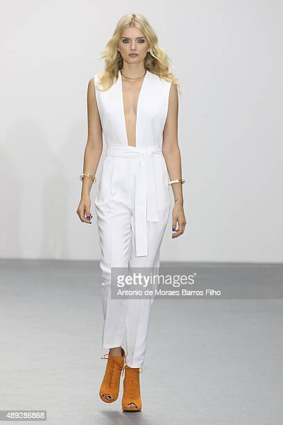 Model walks the runway of the Issa show during London Fashion Week Spring/Summer 2016/17 on September 20, 2015 in London, England.