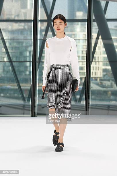 A model walks the runway of the Preen by Thornton Bregazzi show during London Fashion Week Spring/Summer 2016/17 on September 20 2015 in London...