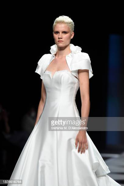 Model walks the runway of the Terry IlaFlà show during the SiSposa Italia Collezioni - Milan Bridal Week on June 26, 2021 in Milan, Italy.