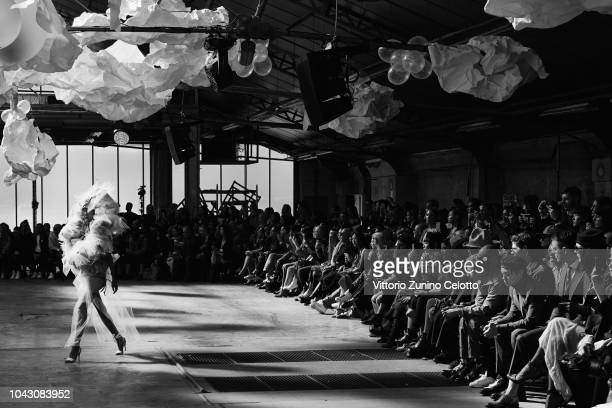 A model walks the runway of the Vivienne Westwood show as part of the Paris Fashion Week Womenswear Spring/Summer 2019 on September 29 2018 in Paris...