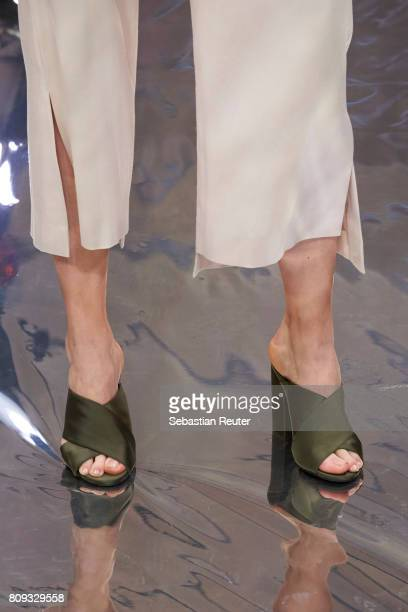 A model walks the runway shoe detail at the Holy Ghost show during the MercedesBenz Fashion Week Berlin Spring/Summer 2018 at Heeresbaeckerei on July...