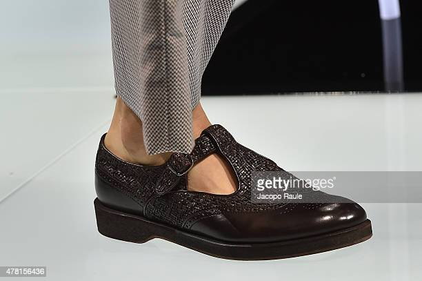 A model walks the runway shoe detail during the Giorgio Armani fashion show as part of Milan Men's Fashion Week Spring/Summer 2016 on June 23 2015 in...