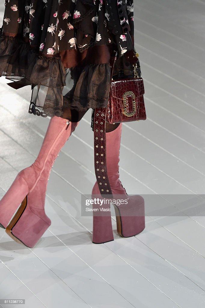 4cca2fbc140f0 A model walks the runway, shoe detail, wearing Marc Jacobs Fall 2016 ...