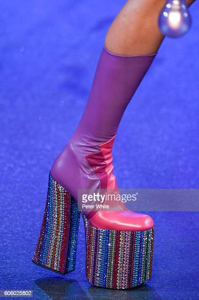 A model walks the runway shoes detail at the Marc Jacobs fashion show during New York Fashion Week at Hammerstein Ballroom on September 15 2016 in...