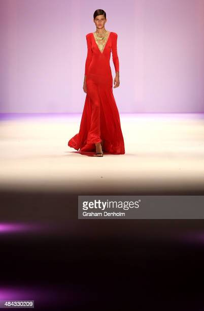 A model walks the runway showcasing designs by ae'lkemi at the Best of #MBFWA show at MercedesBenz Fashion Week Australia Weekend Edition at...
