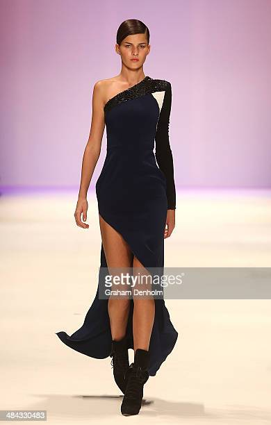A model walks the runway showcasing designs by Alex Perry at the Best of #MBFWA show at MercedesBenz Fashion Week Australia Weekend Edition at...