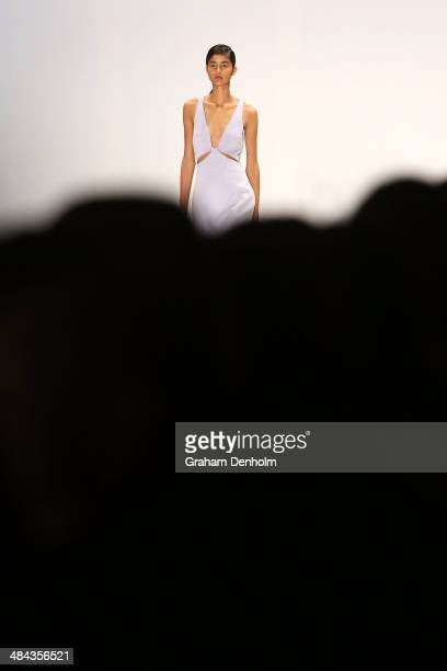 A model walks the runway showcasing designs by Dion Lee at the Best of #MBFWA show at MercedesBenz Fashion Week Australia Weekend Edition at...