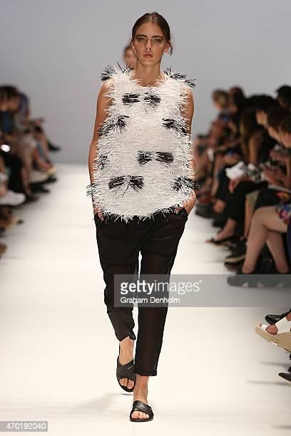 A model walks the runway showcasing designs by Gary Bigeni during the Best of #MBFWA show at MercedesBenz Fashion Week Australia Weekend Edition at...