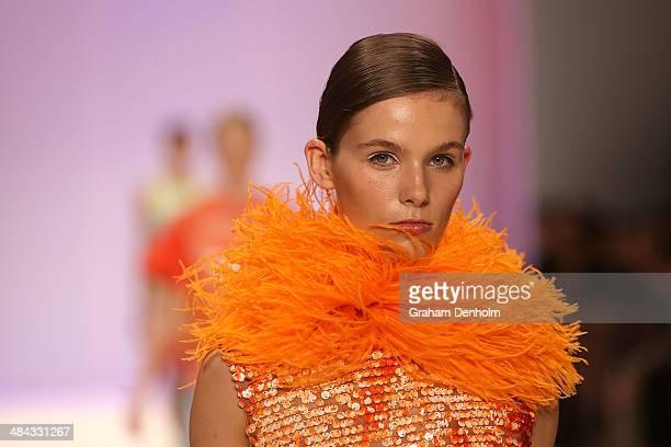 A model walks the runway showcasing designs by Jayson Brunsdon at the Best of #MBFWA show at MercedesBenz Fashion Week Australia Weekend Edition at...