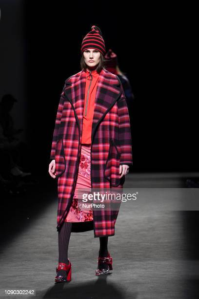 Model walks the runway 'Steps AW 19/20' during the Juan Vidal fashion show at the Madrid Mercedes Benz Fashion Week Autumn/Winter 2019-2020 on...